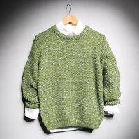 秋季复古套头毛衣男韩版学生圆领毛线衣男士针织衫原宿青少年线衫