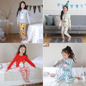 圣诞风系列全棉时尚儿童家居服中大童内衣套装