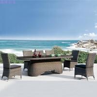 户外简约露天阳台茶几户外休闲桌椅藤椅三件套庭院花园靠背椅 (6 1)长茶几7件套