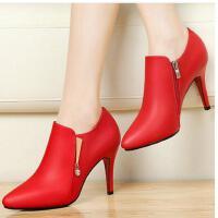 古奇天伦红色婚鞋百搭韩版单鞋高跟鞋女细跟尖头春季新款女鞋SYH8373