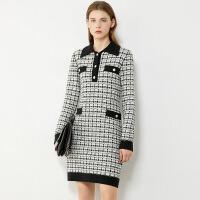【超品预估价138】Amii极简轻奢小气质香风连衣裙2020秋季新款格纹显瘦设计感裙子女