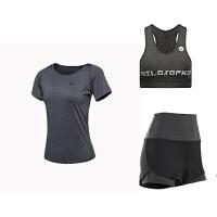 孕妇运动短裤女紧身裤运动服假两件大码瑜伽服套装健身跑步健身房 白色 深灰3件套 X