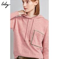 【1/18�_�� 到手�r239元】Lily冬女�b百分百�羊毛�珠口袋��松薄款�B帽毛衣8E23