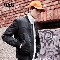 GXG男装 秋季男士修身型休闲黑色斯文夹克外套#63121514