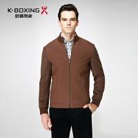 劲霸毛呢夹克青年男士商务休闲外套秋冬季羊毛立领夹克衫BKWY3375