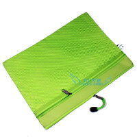 诚必达 34*25cm 网格手提文件袋 办公包 会议文件包 双层袋 A4 可定制logo 双拉链商务办公袋 绿色 109