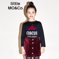littlemoco童装秋季新品儿童T恤马戏团马戏团印花圆领长袖T恤