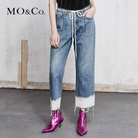 MOCO春季新品洗水渐变散边宽松牛仔裤MA181PAT401 摩安珂