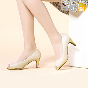 达芙妮旗下SHOEBOX/鞋柜正品高跟防水台浅口鱼嘴单鞋