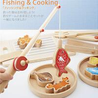 儿童切切乐 烹饪 亲子垂钓游戏榉木制儿童磁性钓鱼玩具 3-5-6岁