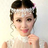 白色蕾丝新娘头饰眉心坠结婚发饰婚纱礼服额饰品珍珠发带红色项链