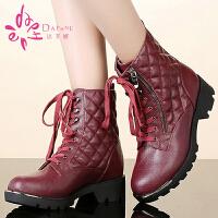 【年终狂欢】达芙妮正品女靴冬季短靴休闲款系带拉链装饰女短马丁靴子