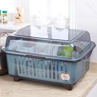塑料碗柜大号厨房欧式多功能家用放碗筷收纳箱带盖碗碟沥水收纳盒 中号灰色 自动沥水