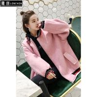 秋冬新款毛呢短外套女韩版棒球服字母花边加厚保暖呢大衣