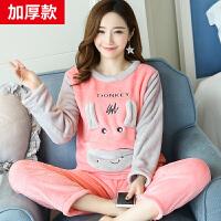 法兰绒套装睡衣女冬季长袖加厚甜美可爱韩版清新学生保暖内衣卡通-BD10012
