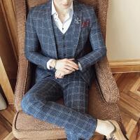 秋季新款男士格子西服套装青年三件套商务休闲西装新郎结婚礼服 灰色