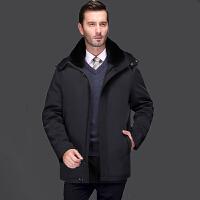 冬季毛领男士羽绒服中老年休闲反季加厚中长款外套中年爸爸装有帽 黑色