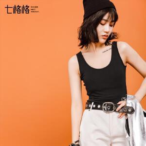 七格格背心女夏外穿2017新款韩版修身显瘦学生U领黑色无袖打底吊带衫潮
