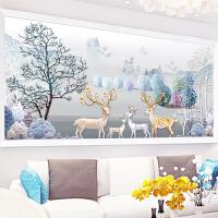 十字绣线绣2018新款发财麋鹿客厅大幅简约现代风景满绣
