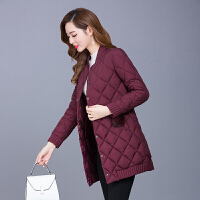 棉衣女中长款2017冬季新款韩版修身薄款中年羽绒轻薄棉袄外套