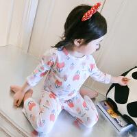女童睡衣套装夏薄款纯棉公主可爱甜美卡通中小童儿童家居服两件套 红色 红色小花 80码 身高约80cm