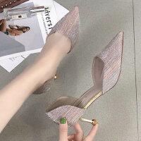 女士时尚百搭性感尖头凉鞋 新款法式少女细跟高跟鞋 韩版浅口中空单鞋女