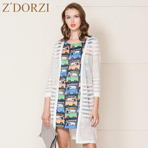 zdorzi卓多姿女韩版薄款中长款网纱针织开衫外套632872