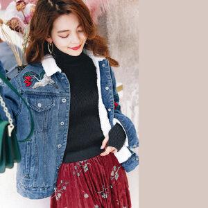 七格格仿羊羔毛刺绣牛仔外套2017秋冬季新款bf韩版宽松短款棒球服棉衣女