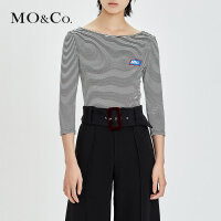 MOCO夏装露背条纹修身一字领T恤女 打底衫MA172TEE239 摩安珂