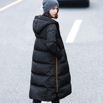 Amii[极简主义]2017年冬装新款90绒修身长过膝加厚羽绒服女装宽松_黑色,155/80A/S
