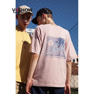 VIISHOW2018短袖T恤男 潮牌宽松套头上衣服bf风圆领纯棉男士半袖