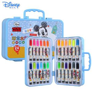 Disney/迪士尼 24色儿童带印章水彩笔手提彩笔套装绘画涂鸦儿童礼物D01214