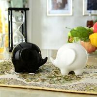 陶瓷象工艺品摆件 马上有对象 简约现代创意家居装饰品办公室摆设 小象一对