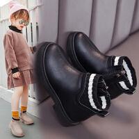 女童短靴皮鞋秋季靴子�和�鞋洋�饧咏q大棉�R丁靴秋冬款