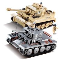 积木拼装军事坦克战车6-10-12岁男孩子儿童玩具生日礼物