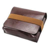 联想微软DELL笔记本电源包 鼠标收纳袋收纳包 整理包皮套 袋整理收纳包 绑带款 疯马皮 路易棕