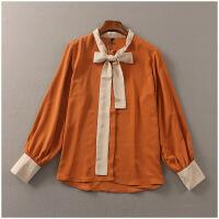 春季新品宽松上衣薄款单排扣长袖衬衫女24564