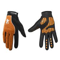 骑行手套全指山地车秋冬季骑车手套透气舒适硅胶防滑手套可触屏 橙色 M