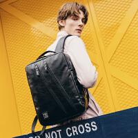 双肩包男15.6寸电脑包多功能韩版书包青年背包男旅行休闲商务 黑色