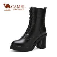 camel骆驼女靴 冬季新款时尚超高跟粗跟马丁女靴骑士靴