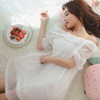 睡裙女夏季纯棉短袖韩版睡衣女士性感蕾丝可爱甜色公主家居服