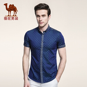 骆驼男装 夏季青年时尚碎花尖领日常休闲纯棉短袖衬衫男衬衣