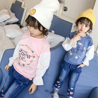 时尚花朵字母拼接袖女童上衣儿童卫衣春装韩版卫衣 177348