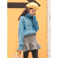 高领纯色毛衣冬季女装2019新款前短后长韩版宽松贴布粗线针织衫潮