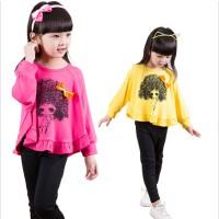女童秋装套装新款蝙蝠衫 2-3-7岁女宝宝女宝T恤顺秋季韩版潮