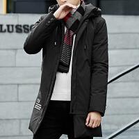 冬季流行连帽羽绒服男士中长款修身韩版加厚冬装青少年外套男 黑色