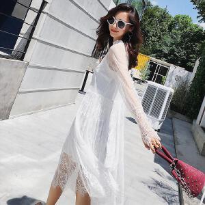 七格格蕾丝连衣裙女秋装2017冬季新款韩版时尚显瘦内外穿中长款长袖裙子