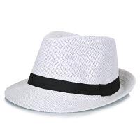 中老年帽子男士夏季亚麻草帽老人纯色礼帽爸爸透气防晒凉帽绅士帽