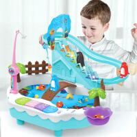磁性钓鱼玩具灯光企鹅爬楼梯玩具仿真过家家钓鱼玩具池套装玩具 g1p