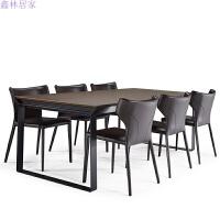 餐桌椅组合现代简约北欧风实木家具餐厅咖啡厅长方形家用铁艺餐桌